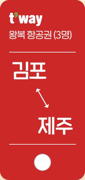 왕복 항권(3명) 김포 제주