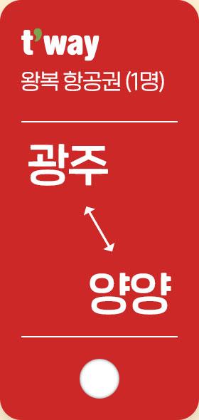 왕복 항공권(1명) 광주 양양